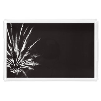 Dramatic Palm Tree Night Black and White Photo Acrylic Tray