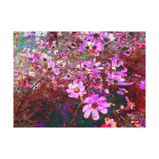Dramatic, photograph art of cerise summer flowers canvas print