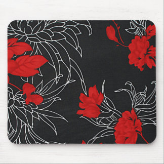 Dramatic Red Flowers on Black Mousepad