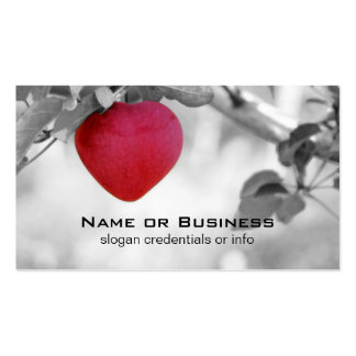 Dramatic Red Heart Shaped Apple Double-Sided Standard Business Cards (Pack Of 100)
