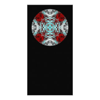 Dramatic Round Pattern. Red and Turquoise. Photo Cards