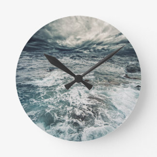 Dramatic Seas Round Clock