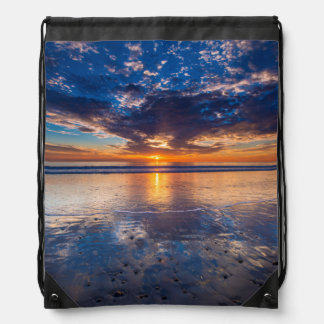 Dramatic seascape, sunset, CA Drawstring Bag