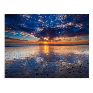 Dramatic seascape, sunset, CA Postcard