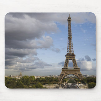 dramatic sky behind Eiffel Tower Mouse Pads