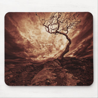 Dramatic Sky Over Old Lonely Tree Mouse Pads