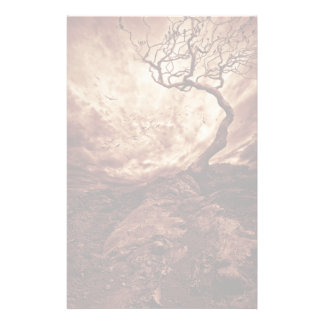 Dramatic Sky Over Old Lonely Tree Personalised Stationery