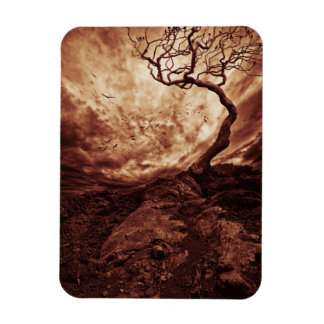 Dramatic Sky Over Old Lonely Tree Rectangular Photo Magnet