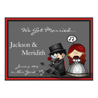 """Dramatic Stage Elopement Announcement 5"""" X 7"""" Invitation Card"""