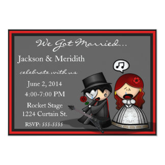 """Dramatic Stage Elopement  / Reception Announcement 5"""" X 7"""" Invitation Card"""