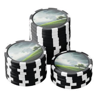 Dramatic summer thunderstorm & scenic landscape poker chips