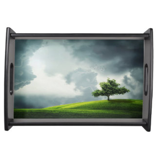 Dramatic summer thunderstorm & scenic landscape serving tray