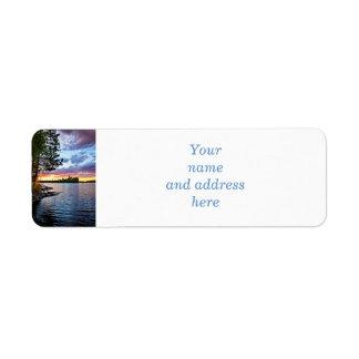 Dramatic sunset at lake return address label