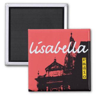 dramatic vermilion Siena city silhouette Square Magnet