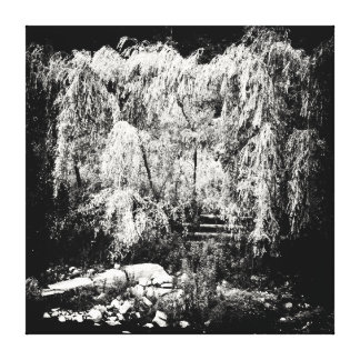 Dramatic Weeping Willow Tree Over River Bank Canvas Print