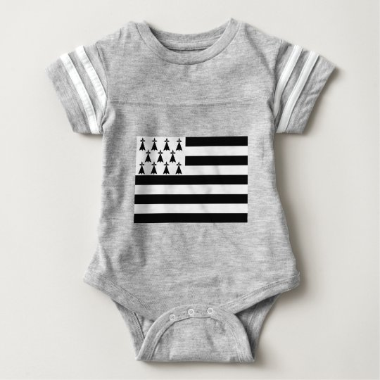 Drapeau de la Bretagne Breizh Gwenn ha Du Britanny Baby Bodysuit