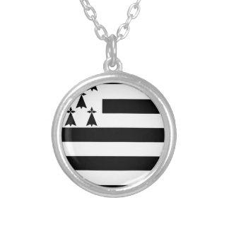 Drapeau de la Bretagne Breizh Gwenn ha Du Britanny Silver Plated Necklace