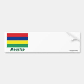 Drapeau Maurice avec le nom en français Bumper Sticker