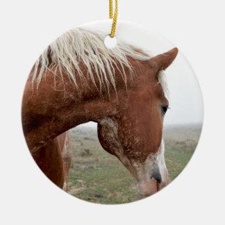 Draught   Horse in the Mist - Stunning Western Round Ceramic Decoration