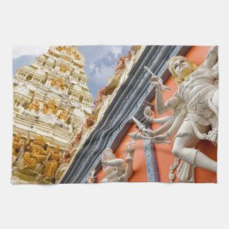 Dravidian Architecture Exterior of Hindu Temple Tea Towels