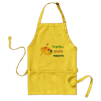 Draw, Paint, Create yellow art apron with palette