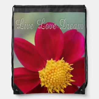 Draw String Back Pack Live Love Dream Flower Drawstring Bag