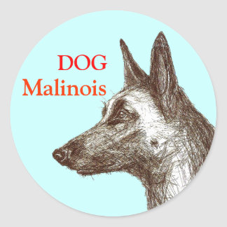 drawing malinois classic round sticker