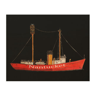 drawing nantucket lightship  on printed on wood wood wall art