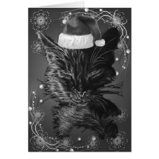 Drawing of a Sleepy Cat with a Santa Hat Greeting Card