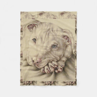 Drawing of a White Pitbull on Blanket