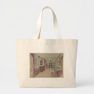 Drawing of an Interior- Cabinet du Salon Large Tote Bag