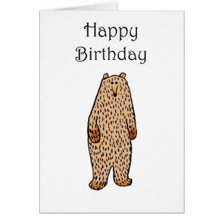 Drawing of brown Bear, happy birthday. Card
