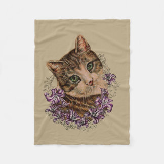 Drawing of Brown Cat and Lilies Art on Blanket