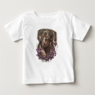 Drawing of Brown Dachshund Dog and Lilies Art Baby T-Shirt