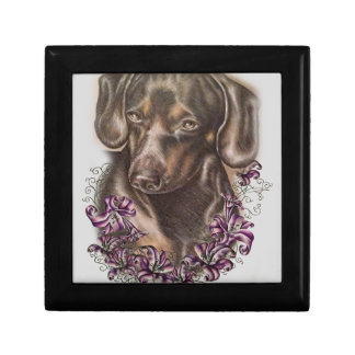 Drawing of Brown Dachshund Dog and Lilies Art Gift Box