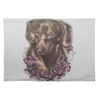 Drawing of Brown Dachshund Dog and Lilies Art Placemat