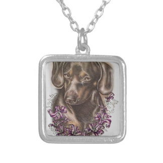 Drawing of Brown Dachshund Dog and Lilies Art Silver Plated Necklace