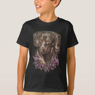 Drawing of Brown Dachshund Dog and Lilies Art T-Shirt