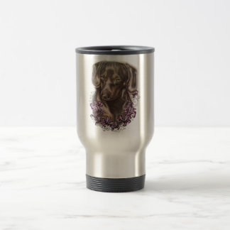 Drawing of Brown Dachshund Dog and Lilies Art Travel Mug