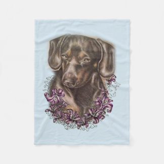 Drawing of Brown Dachshund Dog Art on Blanket