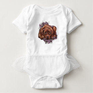 Drawing of Brown Labrador Dog and Lilies Baby Bodysuit