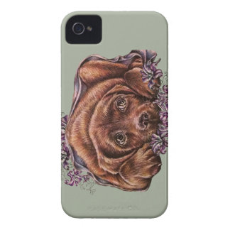 Drawing of Brown Labrador Dog and Lilies Case-Mate iPhone 4 Case