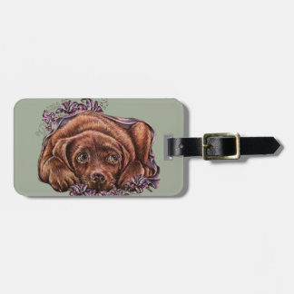 Drawing of Brown Labrador Dog and Lilies Luggage Tag