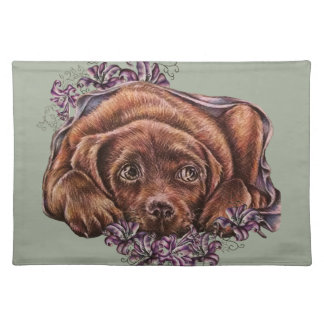 Drawing of Brown Labrador Dog and Lilies Placemat
