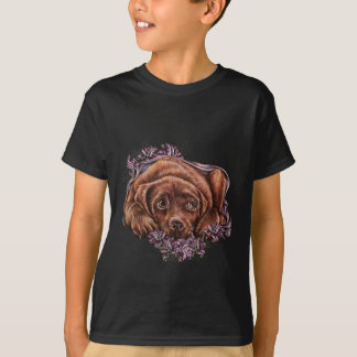 Drawing of Brown Labrador Dog and Lilies T-Shirt