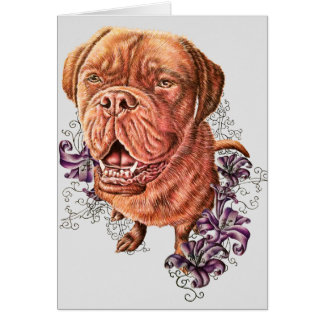 Drawing of Brown Mastiff Dog Art and Lilies Card