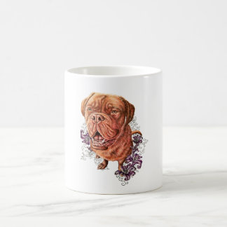 Drawing of Brown Mastiff Dog Art and Lilies Coffee Mug