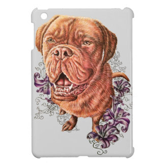 Drawing of Brown Mastiff Dog Art and Lilies iPad Mini Cases