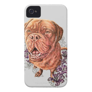 Drawing of Brown Mastiff Dog Art and Lilies iPhone 4 Case