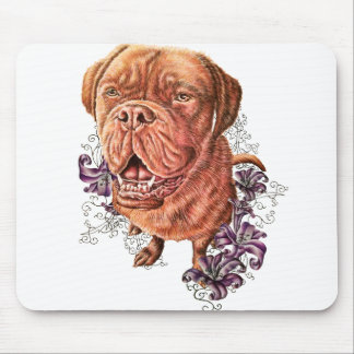 Drawing of Brown Mastiff Dog Art and Lilies Mouse Pad